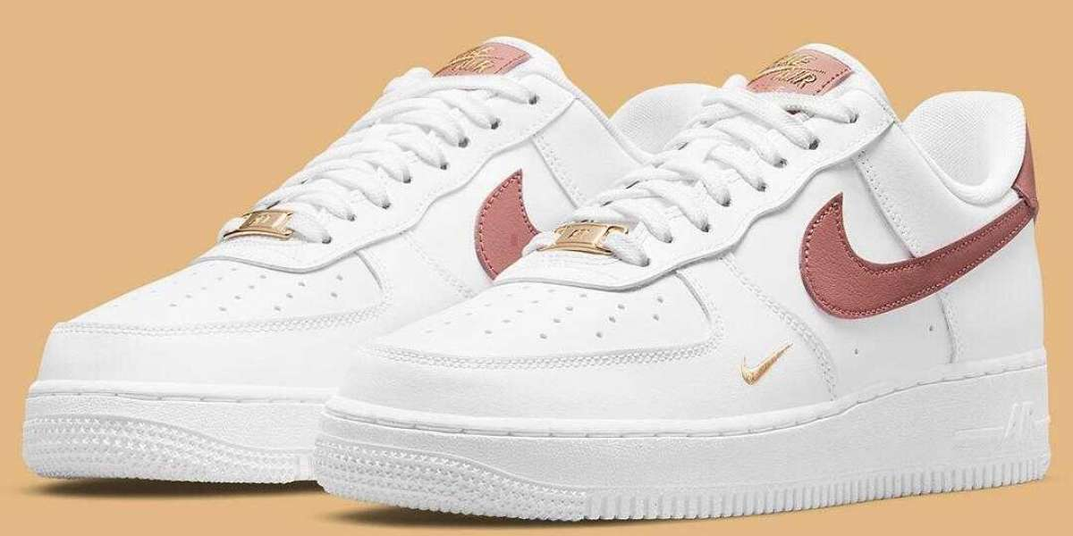 2021 Nike Air Force 1 Low Rust Pink With Golden Mini Swooshes